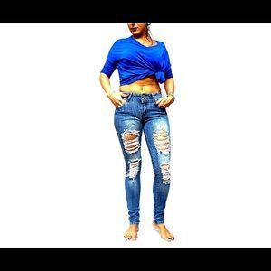 JD Juniors Women Blue Denim  Skinny Ripped Pants
